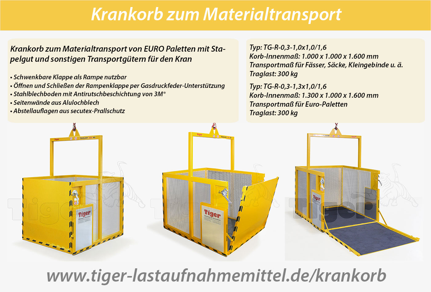 Materialtransport mit Krankorb