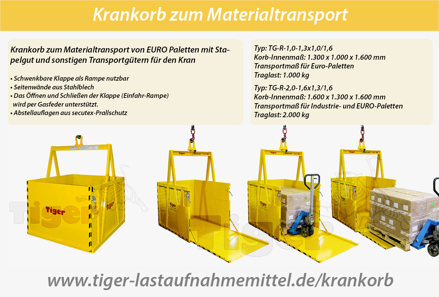TIGER Krankorb Serie TG-RGT - Materialtransport Kranbetrieb