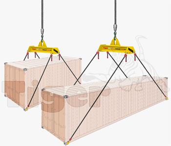 Container Traversen für den Transport eines 20 oder 40-Fuß-Containers im Kranbetrieb